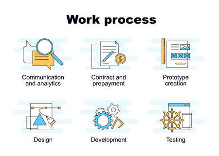 Vector set of web work process flat icons. Elements of successful project management. Web and mobile projects stages of development; line illustration. Digital marketing icons. How we work icons.