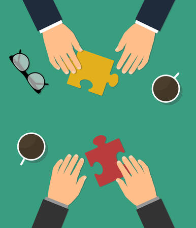 Business cooperation and partnership concept flat vector illustration. Two people conclude a deal on cooperation and support. Ilustrace