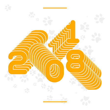 Repeating numbers 2018. New Year concept banner vector illustration with traces of dogs paws. Ilustrace