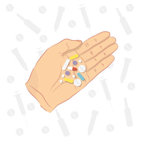 Man holding pills in his hand. Healthcare and pharmacy concept. Ilustrace