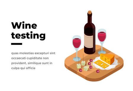 Wine tasting banner isometric vector illustration. Wine shop or degustation concept.