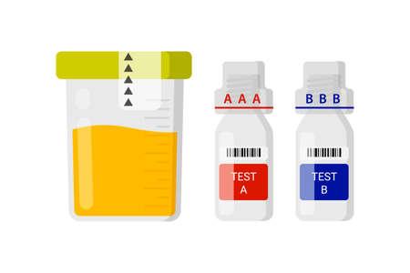도핑을위한 실험실 테스트. 운동 선수의 소변에서 의약품을 유지하기위한 개념. 스톡 콘텐츠 - 96641787