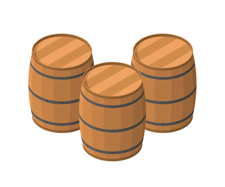 Isometric Barrels isolated on white background. Ilustrace