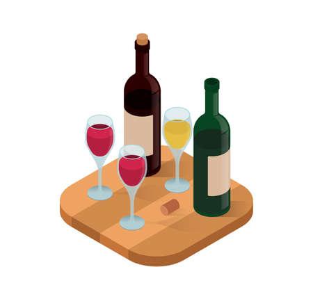 Wine tasting isometric vector illustration.