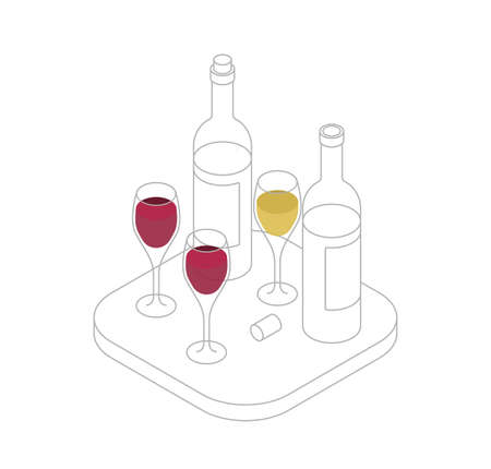 Wine tasting isometric line vector illustration. Wine shop or degustation concept.