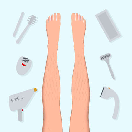 Banner concept with the types and methods of hair removal. Contour of a female foot in a paper art style flat vector illustration. Stock Illustratie