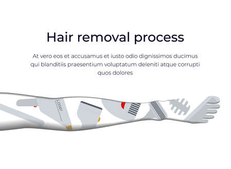 Banner concept with the types and methods of hair removal.