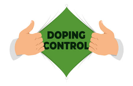 Opened shirt to show doping control sign in flat cartoon style.