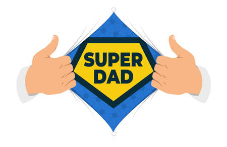 Opening shirt Dad vector illustration. Man open shirt to show Dad sign in flat cartoon style. Open shirt, good father, protection, support. Concept of a greeting card for Fathers Day