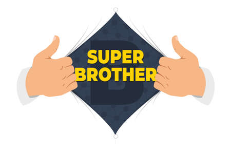 Opening shirt brother vector illustration. Man open shirt to show Brother sign in flat cartoon style. Open shirt, good brother, elder brother, protection, support. The concept of a greeting card for brother