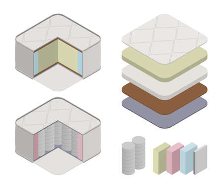 Orthopedic mattress set in a cut, on layers flat vector isometric illustration. Technologies and types materials of the mattress, 3d. The concept of marketing materials of orthopedic mattress