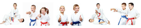 karate: Children show techniques of karate a collage Stock Photo