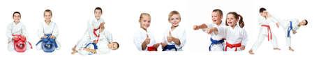 Kinder Athleten führen Empfang Selbstverteidigung Collage