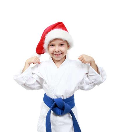 beanie: Little girl in the kimono and beanie Santa Claus