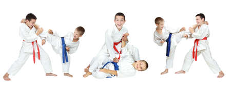 Two boys show of self-defense techniques a collage