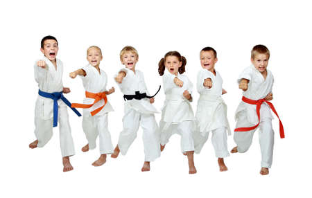 karate boy: On a white background six athletes hit a punch arm