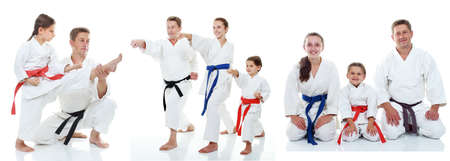 karate kick: Family karate athletes shows on the white background collage