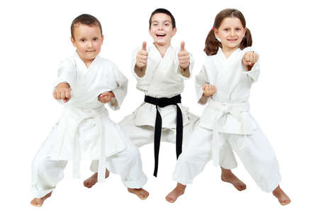 Auf einem weißen Hintergrund kleine Kinder drücken die Freude der Karate-Unterricht Lizenzfreie Bilder