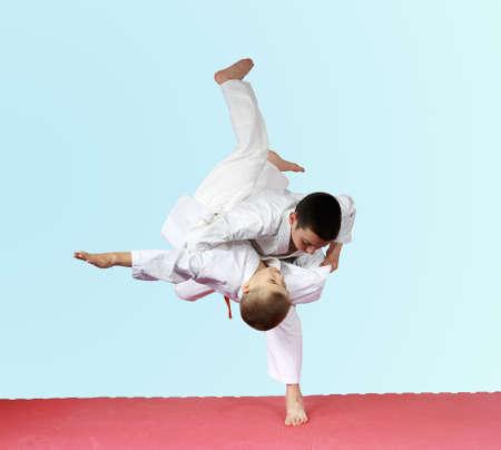 jiu jitsu: Throws judo two athletes are training on the mat Stock Photo