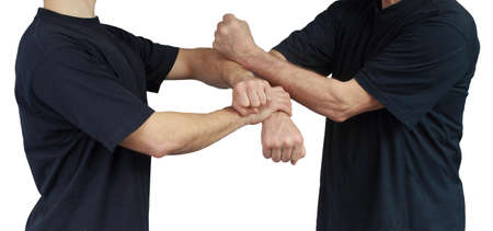 chun: On a white techniques of Wing Chun are performing two athletes