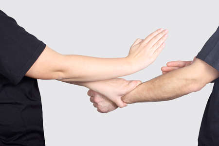 krav maga: Man and woman are training techniques of Wing Chun Kung Fu Stock Photo