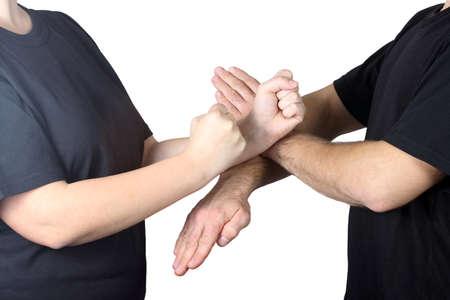 chun: On a white background athletes perform tricks Wing Chun Kung Fu Stock Photo