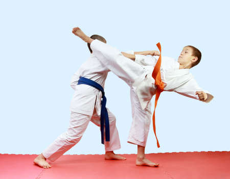 jiu jitsu: Young athletes are training blows legs and arms on the mats
