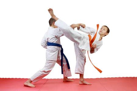 jiu jitsu: Sportsmen perform paired exercises karate