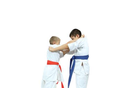 jiu jitsu: Capture of the judogi are doing two athletes Stock Photo