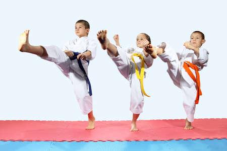 arts: Sportsmen in karategi are beating direct kick leg