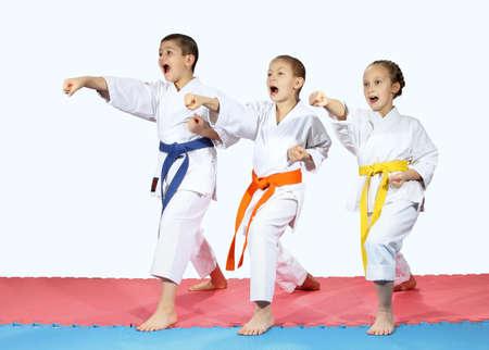 Punch Hände nach vorne zu schlagen sind Sports in karategi Lizenzfreie Bilder