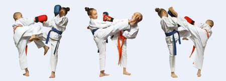 Collage Sportler trainieren Beat bläst Mawashi Geri