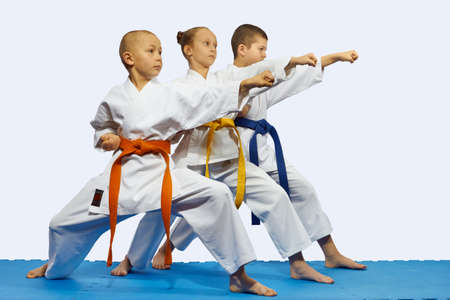 children and sport: Children in karategi are beating blow gyaku tsuki