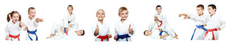 Kinder zeigen Techniken des Karate eine Collage