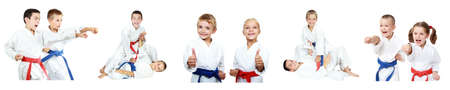 Athletes children perform reception self-defense collage