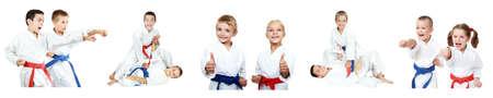 Athletes Kindern durchführen Rezeption Selbstverteidigung Collage