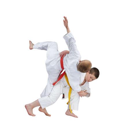 jiu jitsu: Young athletes are training judo throw