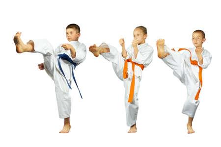 Children athletes beats kick mae-geri on a white background collage Reklamní fotografie