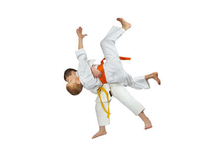 throws: Two athletes in judogi are doing throws judo
