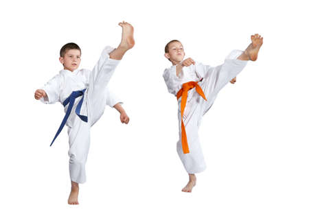 jiu jitsu: The boys are beating blows legs forward Stock Photo