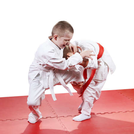 throws: The five-year children  are training judo throws