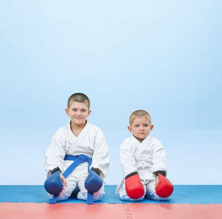 Athletes in karategi sit in karate pose