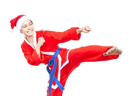 jiu jitsu: With a blue belt adult athlete beats kicking