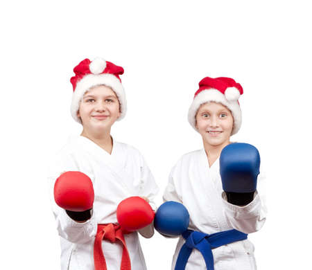 overlays: Boy and girl with the overlays on the hands are in the rack karate Stock Photo