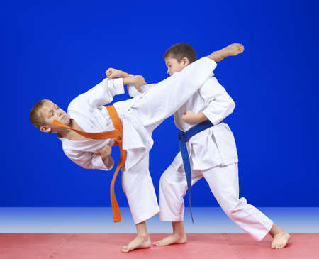 Sportsmen are training blows karate on the mats Stock Photo
