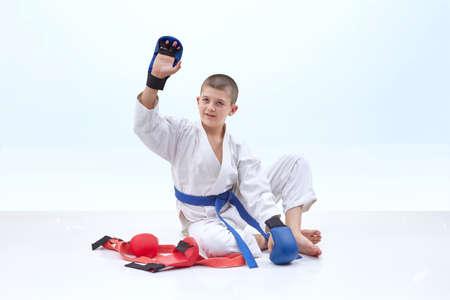 In greeting athlete karate raised his hand stock photo picture and in greeting athlete karate raised his hand stock photo 74822647 m4hsunfo