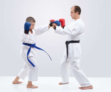 On trainer ovelays student is training blows Stock Photo