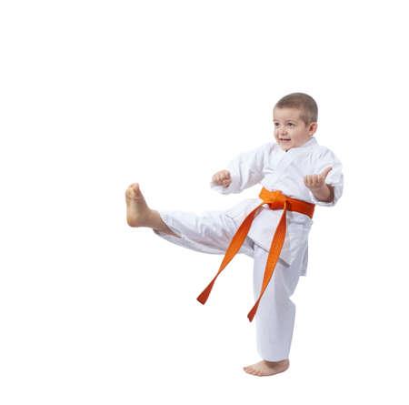 Child is training blow leg