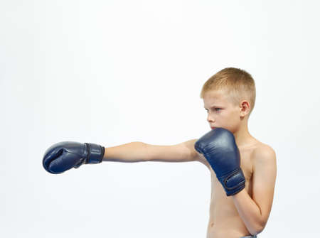The athlete in boxing gloves beat punch hand