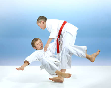 Two young athletes are training judo throws Reklamní fotografie